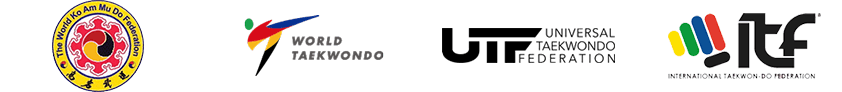Logos: The World Ko Am Mu Do Federation, World Taekwonodo, Universal Taekwondo Federation, International Taekwondo Federation