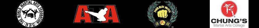 Logos: The World Martial Arts Fedeartion, ATA, Moo Duk Kwan; Chung's Martial Arts College