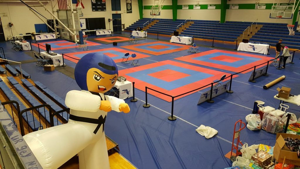 Competition Room with Inflatable Tae Kwon Do fighter in foreground