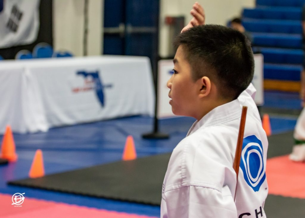 Boy getting ready to compete