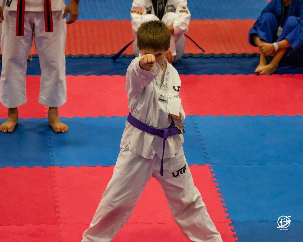 young boy exhibiting tae kwon do form